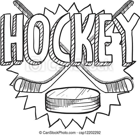 Hockey sketch. Doodle style hockey illustration in vector