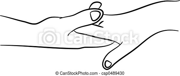 Holding hands. Simple line drawing of two hands in tender