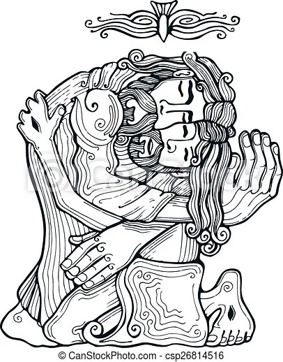 Holy trinity e. Hand drawn vector illustration or drawing