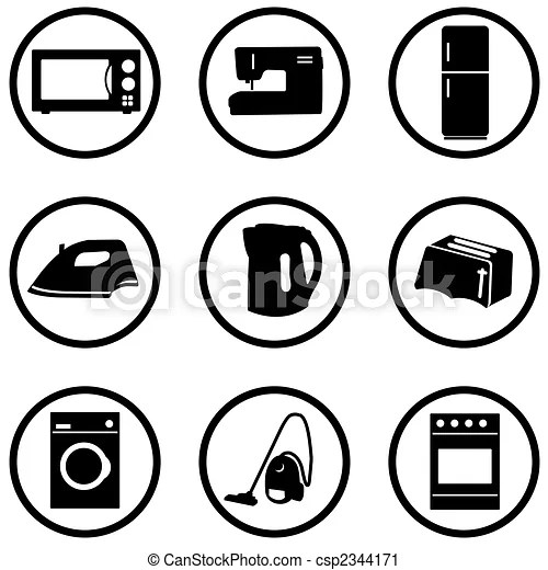 Home appliance icons set. Home appliance black and white