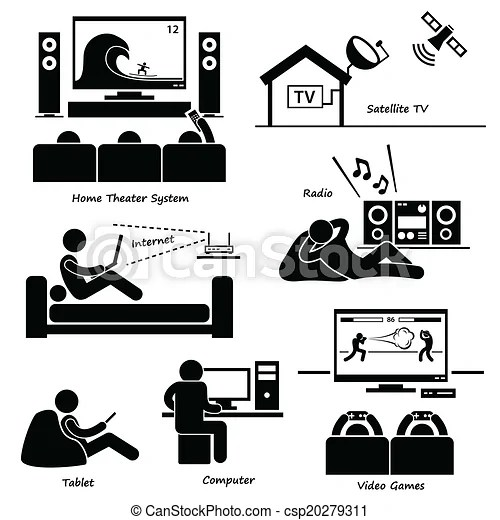 Home electronic appliances icons. A set of human pictogram