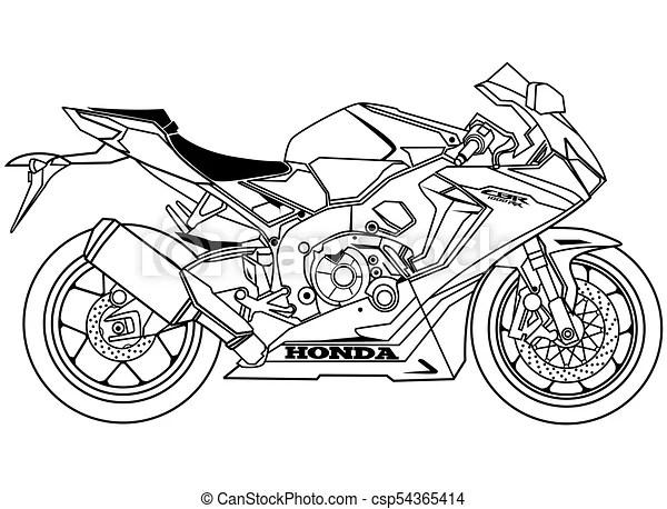 New honda cbr1000r blueprint vector clipart.