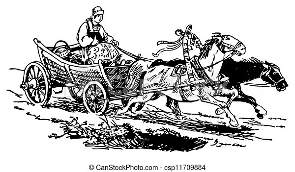 Horse-drawn cart and woman.