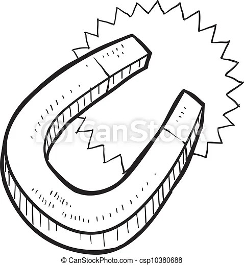 Horseshoe magnet sketch. Doodle style magnet illustration