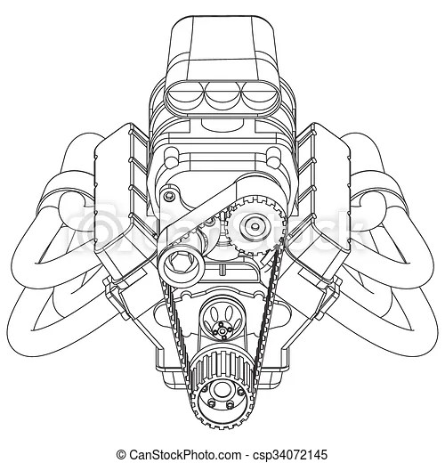 Schematic drawing of hot rod engine. vector illustration.