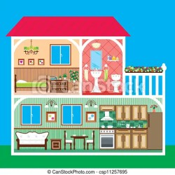 House in a cut Vector illustration it is created in the corel draw program it is edited in the adobe illustrator program CanStock