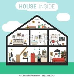 House inside interior House in cut with furniture vector flat house with set of basic rooms
