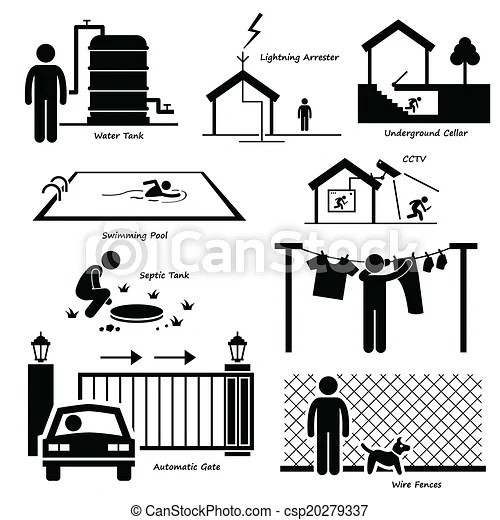 House outdoor infrastructure icons. A set of human