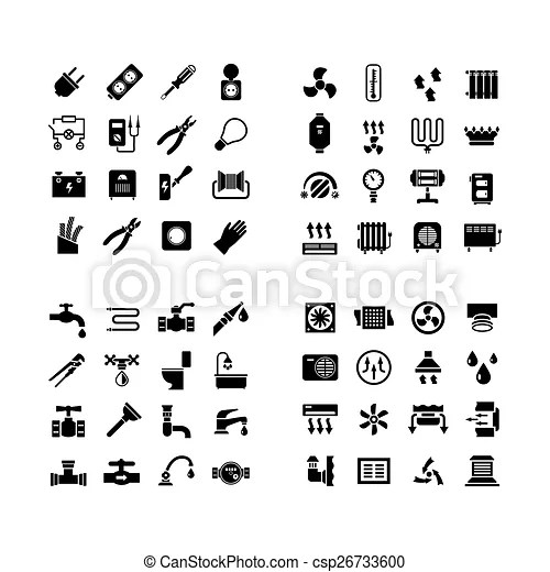 House system icons. set icons of electricity, heating