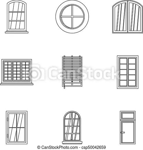 House window icon set, outline style. House window icon