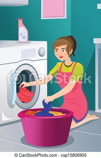 Housewife doing laundry. A vector illustration of a housewife doing laundry.