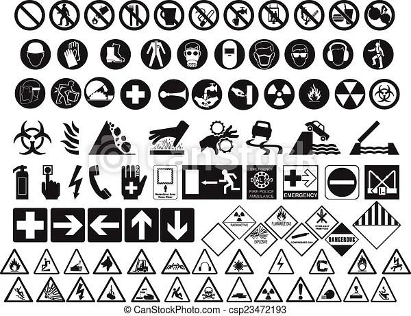 Huge collection of hazard symbols.