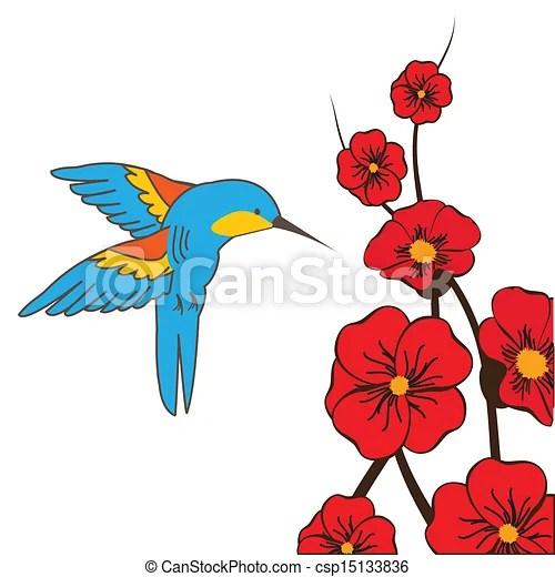 hummingbird feeding flowers