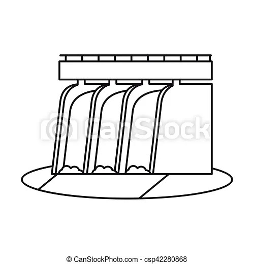 Hydroelectric station plant water dam pictograph vector