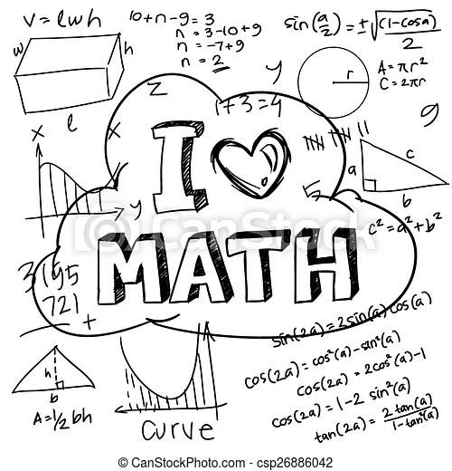 I love math. Vector illustration of math formulas drawn