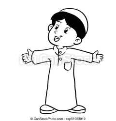 muslim boy illustration vector drawing standing clip coloring clipart happy hand icon line