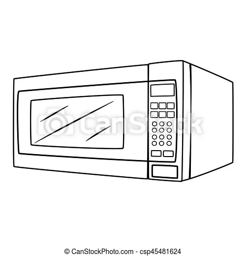 Illustration of isolated microwave oven cartoon drawing.