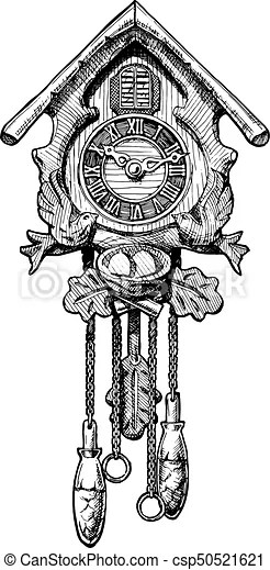 Illustration of old cuckoo clock. Vector hand drawn sketch