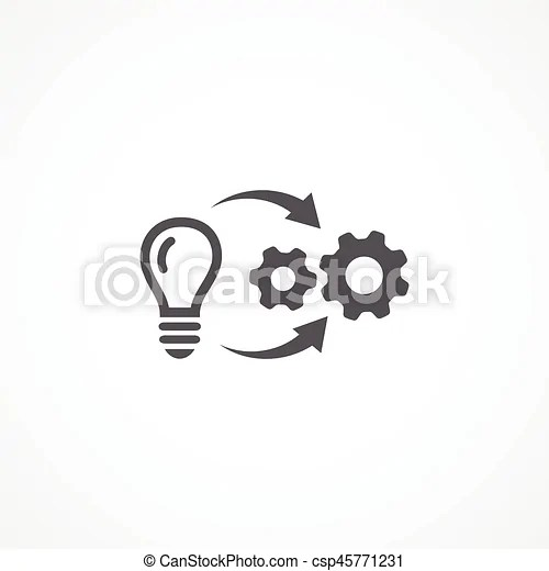 Gray implementation icon on white background.