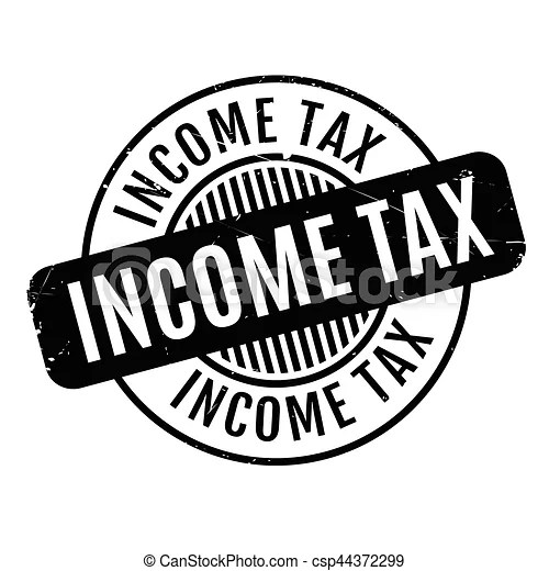 Income tax rubber stamp. grunge design with dust scratches