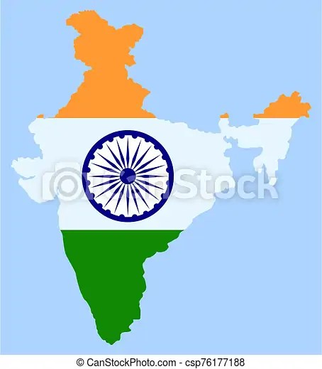 India Map And Indian Flag Of Oriental Country Asian Country Flag Vector Indian Flag With Traditional Symbols And Signs