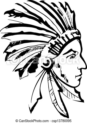 Indian chief (black and white) Native american indian