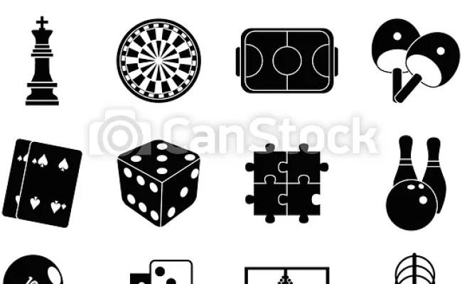 Indoor Games Icons Set In Black