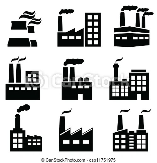 Industrial building, factory and power plants icon set.