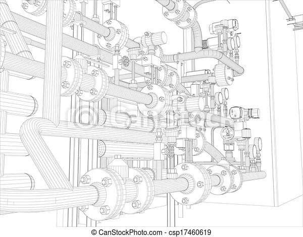 Industrial equipment. wire-frame render. Industrial