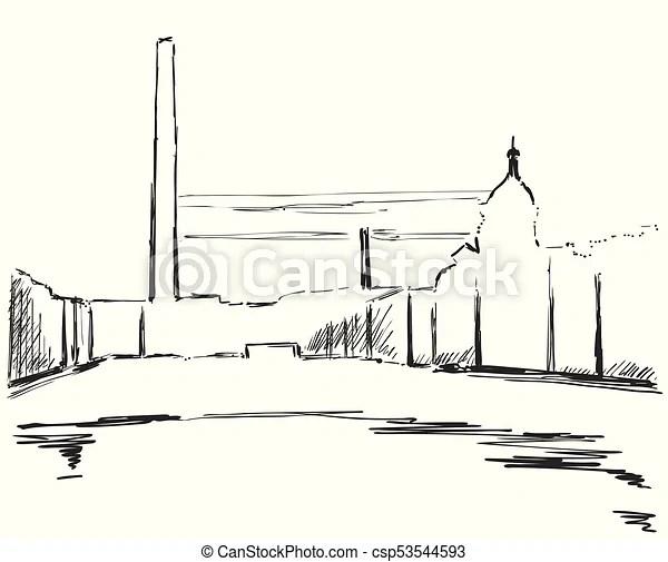 industrial landscape sketch drawing