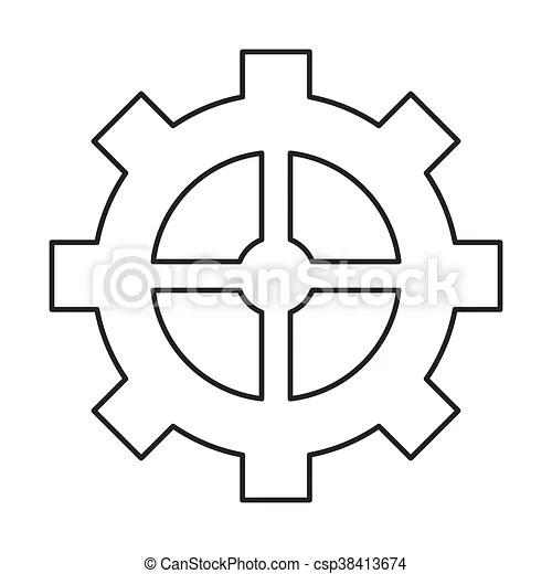 Industrial wheel cog gear symbol isolated vector illustration.