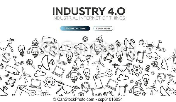 Industry 4.0 banner. smart industrial revolution