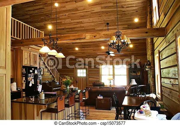 Inside View Of A Modern Log Cabin Living Room View Of