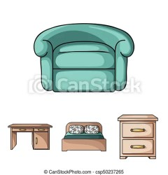 Interior design bed bedroom furniture and home interiorset collection icons in cartoon style vector symbol stock