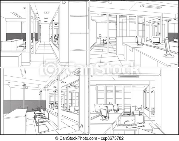 Interior office rooms vector.