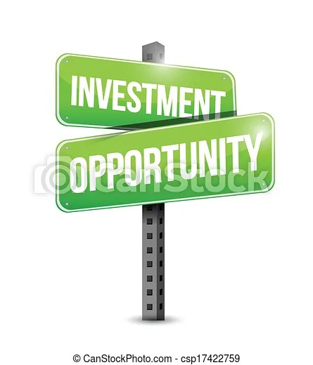 Investment opportunity road sign illustration over a white background.