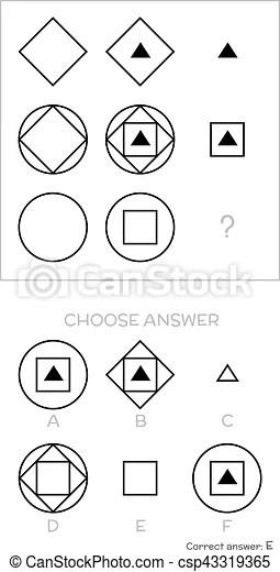 Iq test. choose answer. Iq test. choose correct answer. logical tasks composed of geometric shapes. vector illustration.