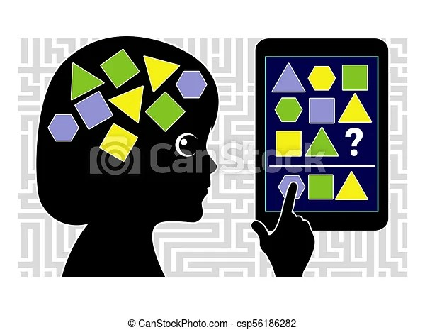 Iq testing apps for kids. Educational software for smartphone or computer to check the mental performance of children.