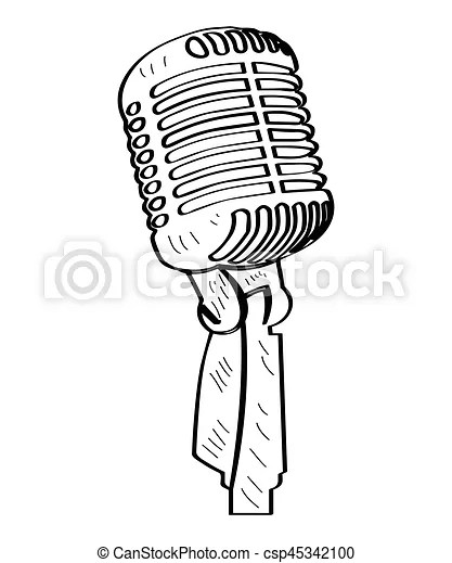 Isolated microphone outline. Isolated outline of a