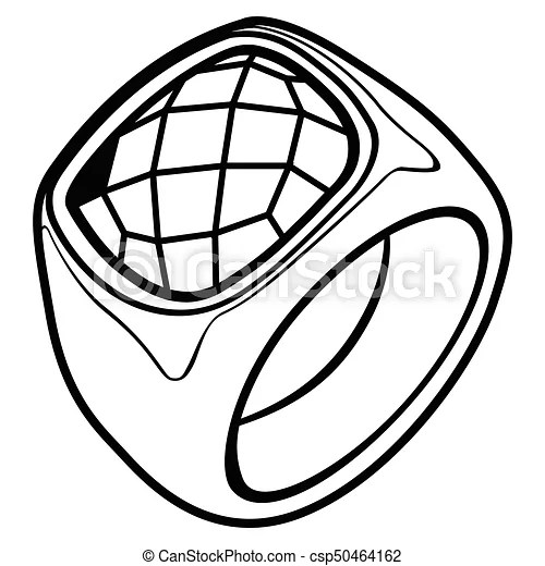 Isolated ring outline. Isolated outline of a ring with a