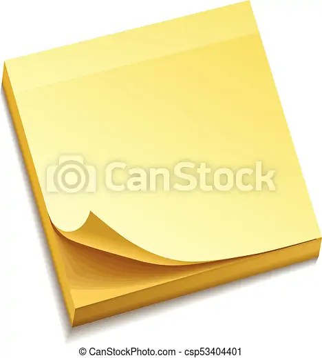 isolated yellow sticky notes