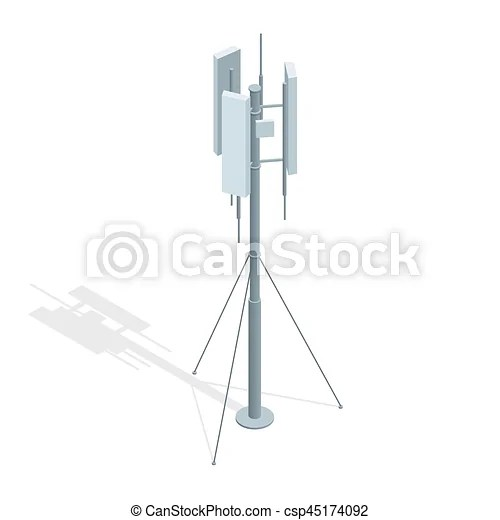 Isometric telecommunications towers. a mobile phone