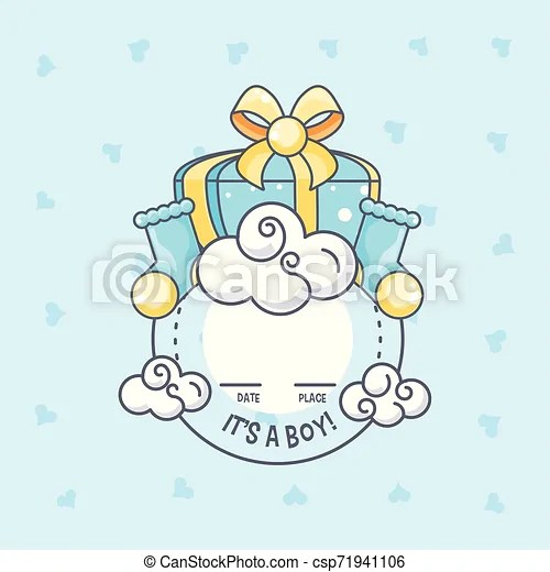 It is a boy baby shower card with gift box and socks vector illustration design.