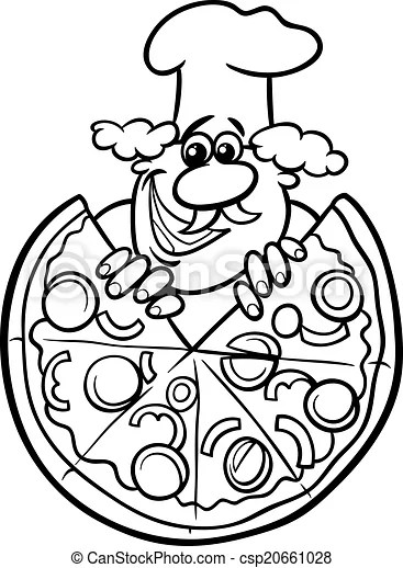 Italian pizza cartoon coloring page. Black and white