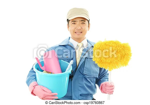 Janitorial cleaning service. The male worker who poses happily on white background.