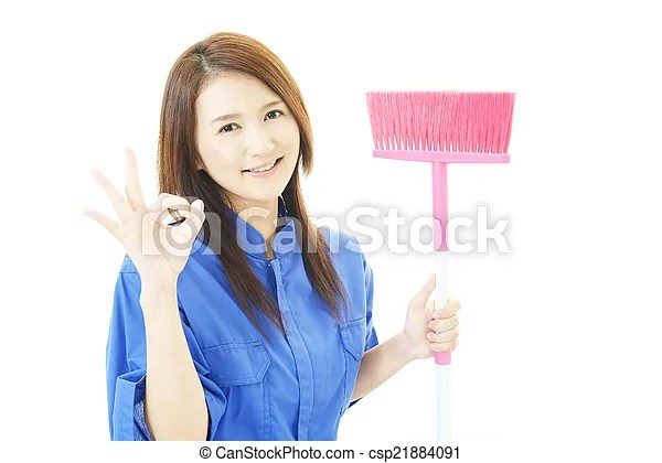 Janitorial cleaning service. The female worker who poses happily on white background.