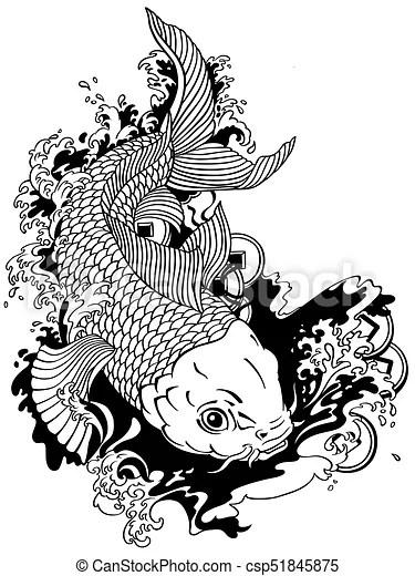 Japanese Koi Fish Tattoo Black And White