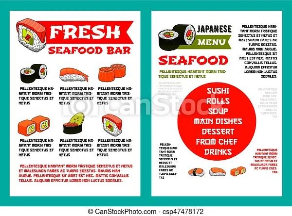 Japanese seafood restaurant, sushi bar menu design. Japanese seafood ...