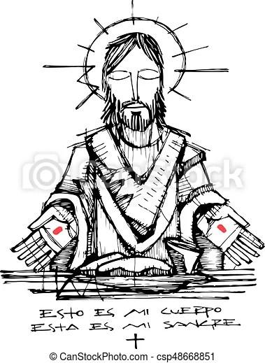 Jesus christ and eucharist symbols illustration. Hand