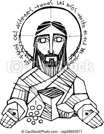 Hand drawn vector pencil illustration or drawing of jesus